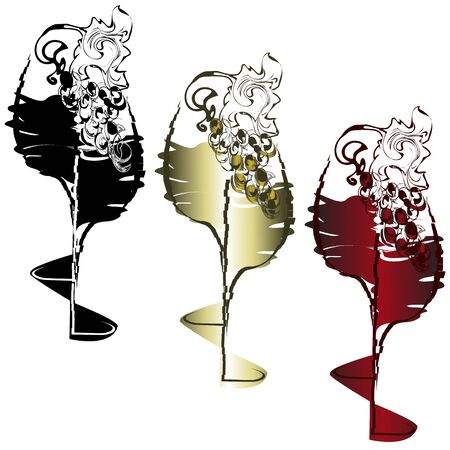 Wine glasses with drinks and a grapevine with berries Illustration