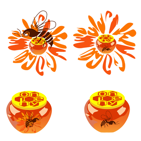 Four pictures with bees and jars with honey, the color vector image on a white background