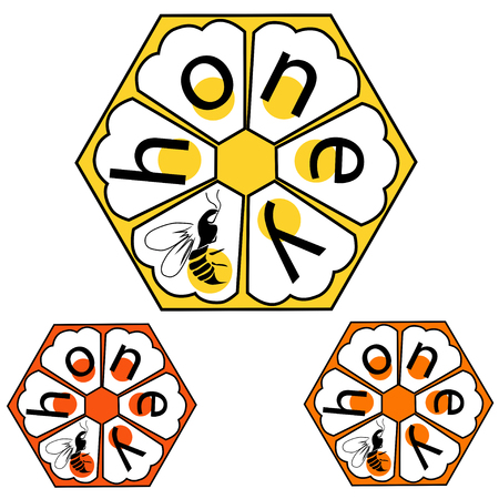 Logo label, bee honeycombs, inscriptions and bees, the color vector image on a white background Illustration