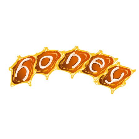 Manual lettering Honey against the background of honey. Illustration