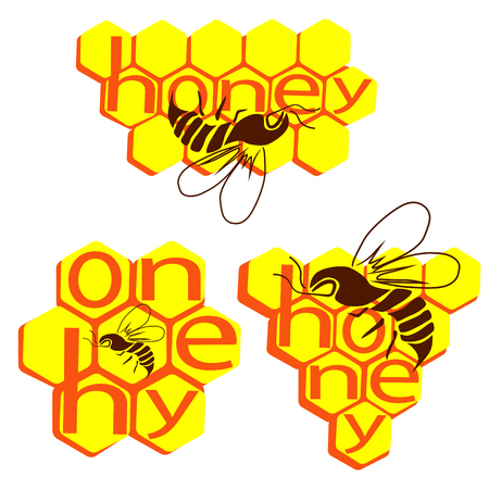 The inscription Honey and a bee against the background of bee honeycombs