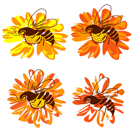 Four pictures with bees on a flower, the color vector image on a white background
