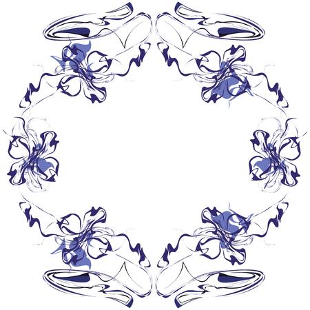 Fantasy flower frame design Illustration
