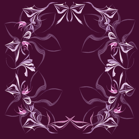 Fantasy flower frame on a violet background.