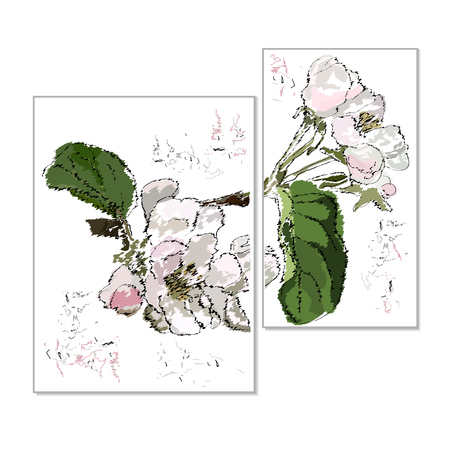Apple-tree flowers on a branch with leaves, stylization of a watercolor, an interior picture, the color vector drawing on a white background, a diptych Иллюстрация