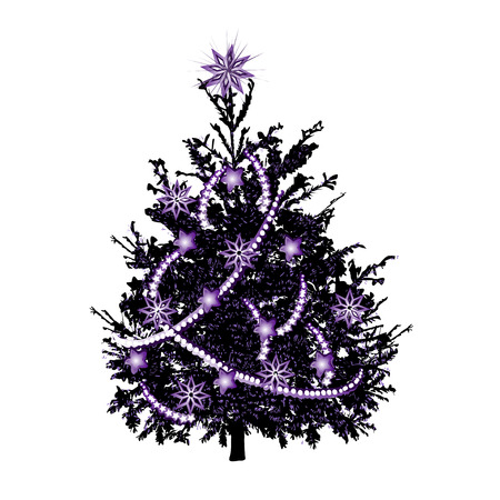 Christmas fir-tree with violet needles and violet sparks, the color vector drawing on a white background Illustration