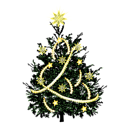 Christmas fir-tree with green needles and gold sparks, the color vector drawing on a white background Illustration