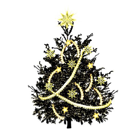 Christmas fir-tree with yellowish needles and gold sparks, the color vector drawing on a white background Illustration