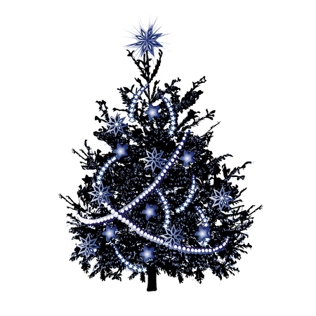Christmas fir-tree with silver needles and silvery sparks, the color vector drawing on a white background Illustration