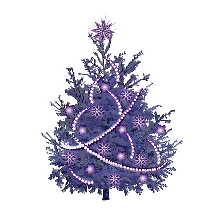 Christmas tree with violet needles, violet sparks and jewelry, the color vector image on a white background