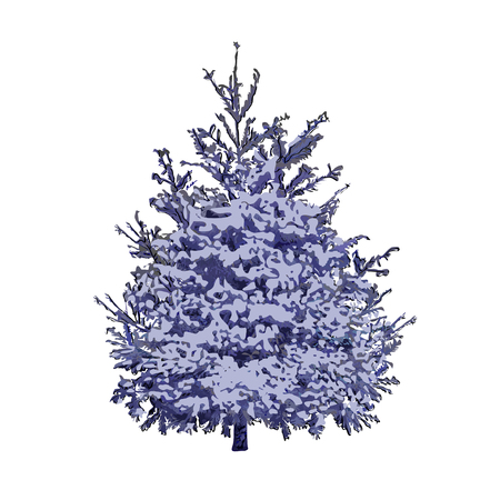 Blue spruce under snow cover, the color vector image on a white background