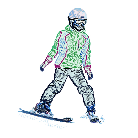 The girl on mountain skiing the climbing-down a mountain, colored pencil, a vector illustration on a white background Illustration