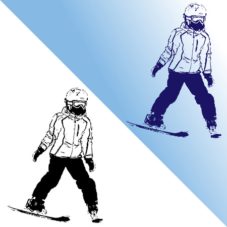 The girl on mountain skiing climbing down a mountain, a stamp, a vector illustration, on white and on a gradient background Illustration