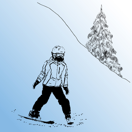 The girl on mountain skiing climbing down a mountain, a stamp, one-color vector illustrations, on a gradient background Illustration