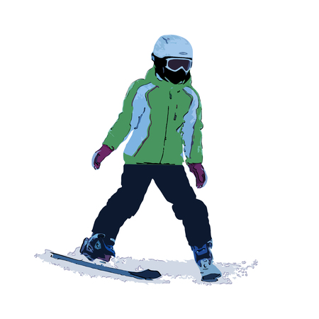 The girl on mountain skiing the climbing-down a mountain, color vector illustration on a white background