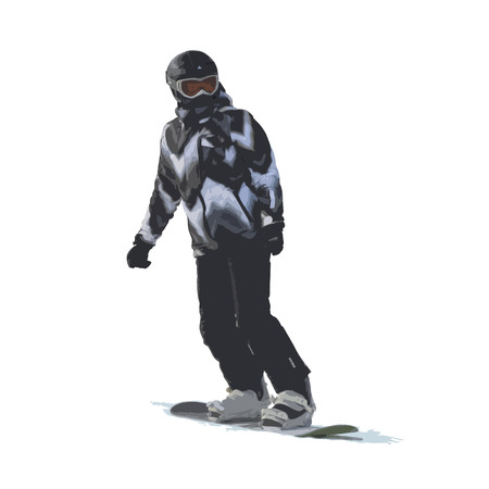 The girl on a snowboard the climbing-down a mountain, color vector illustration on a white background Çizim