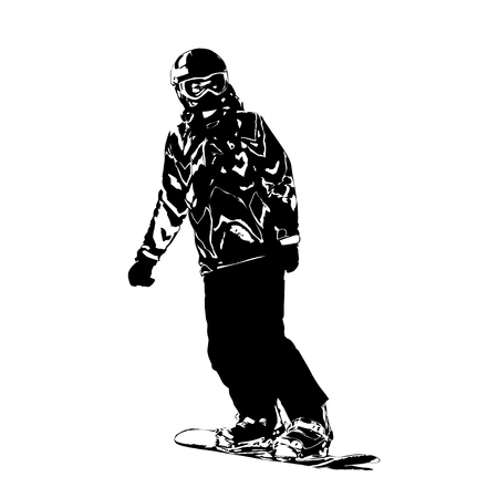The girl on a snowboard the climbing-down a mountain, black-and-white vector illustration on a white background