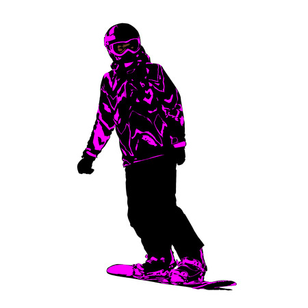 The girl on a snowboard climbing down a mountain, color neon a vector illustration on a white background Çizim