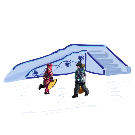 Children in warm clothes with ice-boats for driving near an ice slope, a color vector illustration on a white background
