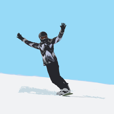 The girl on a snowboard the climbing-down a mountain, color vector illustration on a white and blue background
