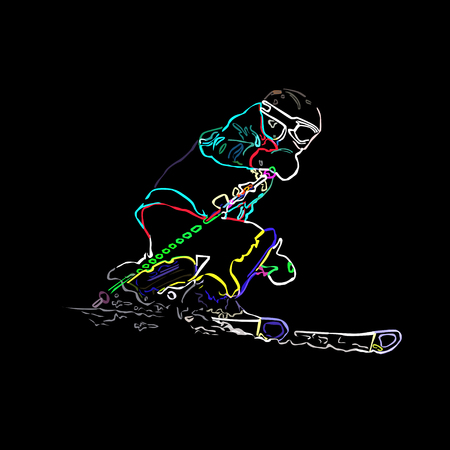 The girl on mountain skiing climbing down a mountain, neon, a color vector illustration on a black background