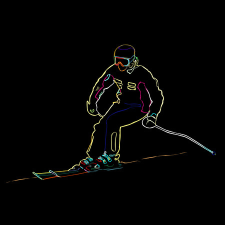 The athlete on mountain skiing climbing down a mountain, neon, a color vector illustration on a black background Vettoriali