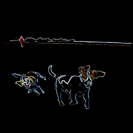Two thoroughbred dogs (beagle) on walk across the field, neon, a color vector illustration on a black background