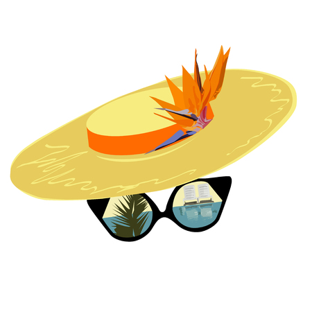 Hat and the traveller's glasses with reflection of a situation, a color vector illustration on a white background
