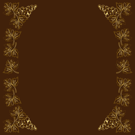 Decorative frame, frame for the text, with vignettes in the form of grape leaves and fruits, the color vector image gold on a brown background