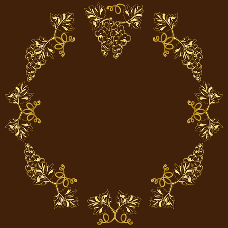 Decorative frame, frame for the text of an oval form, with vignettes in the form of grapevines, leaves and fruits, the color vector image gold on a brown background Çizim