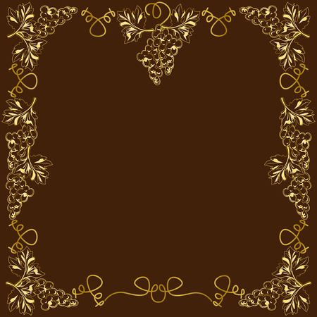 Decorative frame, frame for the text of square shape, with vignettes in the form of grapevines, leaves and fruits, the color vector image gold on a brown background