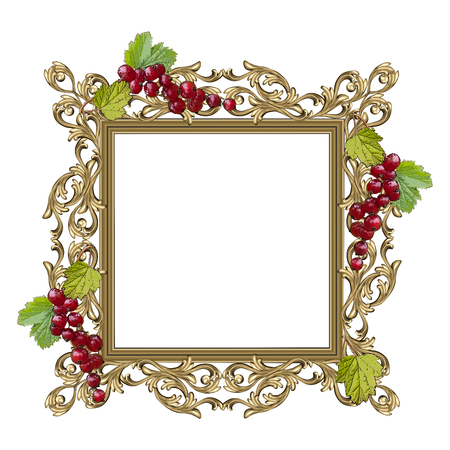 Art frame of square shape with berries and leaves of red currant and a flower ornament, the vector image on a white background Illustration