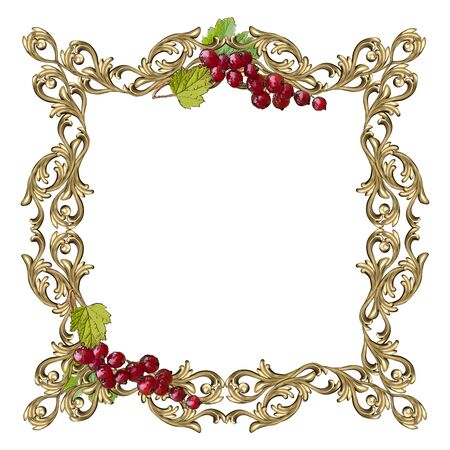 Art frame of square shape with berries and leaves of red currant and a flower ornament, the vector image on a white background Çizim