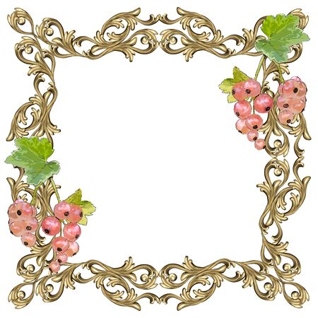 Art frame of square shape with berries and leaves of white currant and a flower ornament, the vector image on a white background