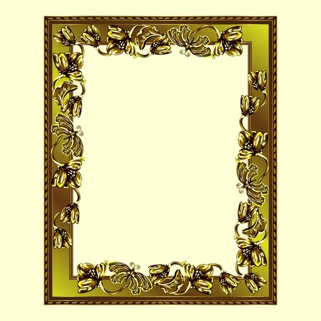 Rectangular frame of golden color with flowers and butterflies, the color vector image on a light yellow background Çizim