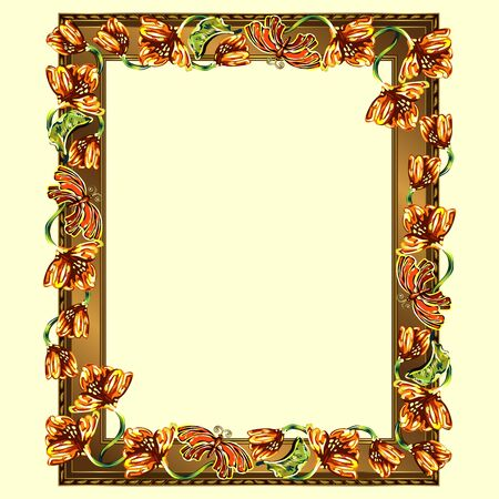 Rectangular frame of copper color with multi-colored flowers and butterflies, the color vector image on a light yellow background