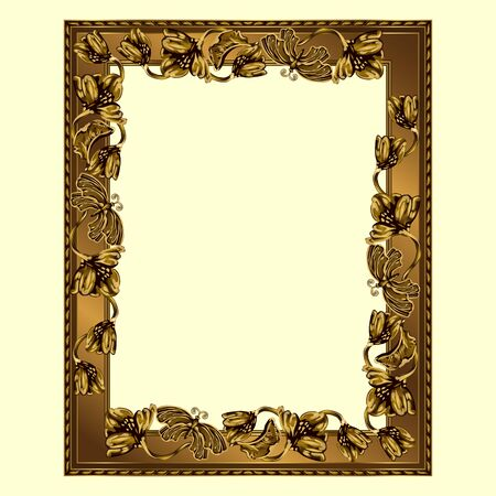 Rectangular frame of copper color with flowers and butterflies, the color vector image on a light yellow background Çizim