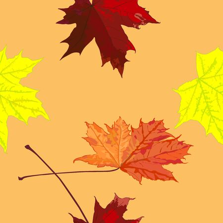 Seamless pattern, drawing of maple leaves, autumn, horizontally vertical, color vector illustration