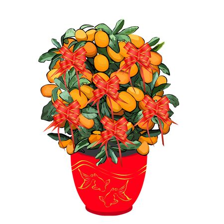 Mandarin tree for Chinese New Year, in cachepot with a pattern of two Koi, colored vector image on a white background Çizim