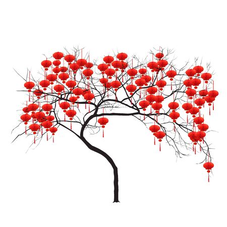 Chinese New Year - tree with red flashlights, color vector image on white background