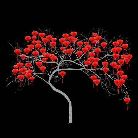 Chinese New Year - tree with red flashlights, color vector image on black background
