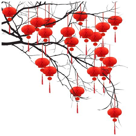 Chinese New Year - tree branch with red flashlights, color vector image on white background Çizim