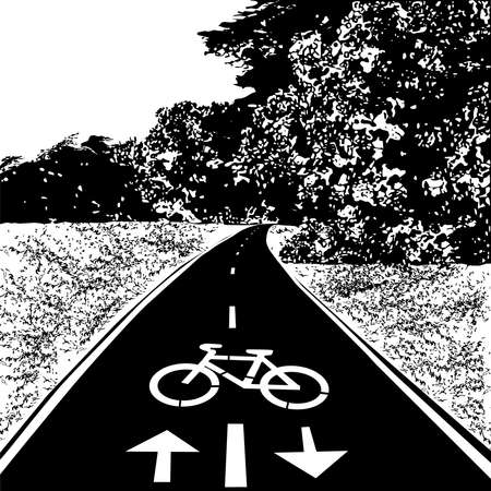Bicycle walkway, bike path, meadow and forest, black vector image on white background