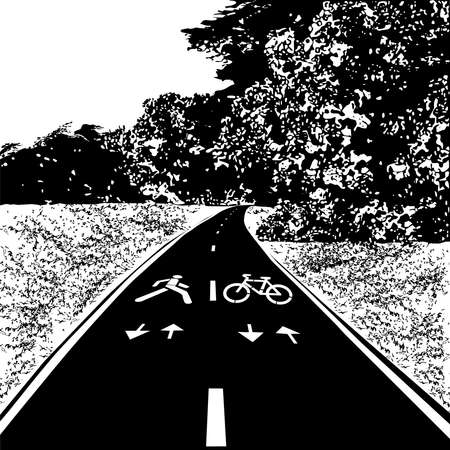 Path for cycling and walking, meadow and forest, black vector image on white background