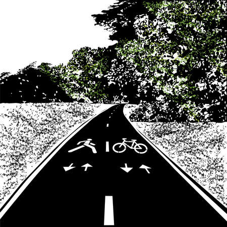 Path for cycling and walking, summer, meadow and forest, black vector image with elements of color, on a white background Çizim