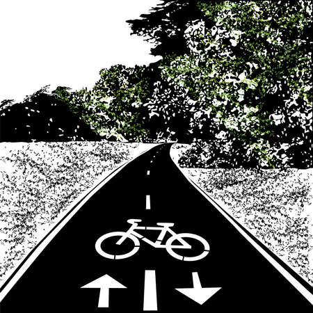 Bicycle walkway, bike path, summer, meadow and forest, black vector image with elements of color, on a white background