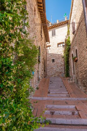 Street of the small town of Assisi, Italy, with stairs, buildings and plants on the sides 写真素材