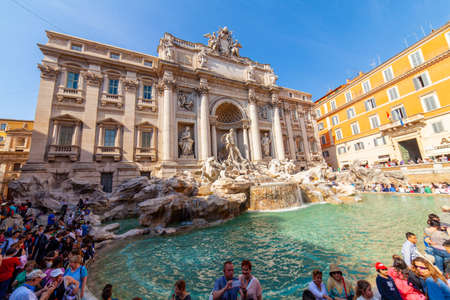 04/09/2014 - Rome, Italy: the famous and wonderful Trevi Fountain with tourists Editorial