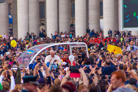 04/09/2014 - Rome, Italy: Pope Francis greets the crowd during a general audience