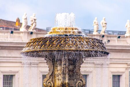 Detail of the fountain in Piazza San Pietro, Rome, Italy